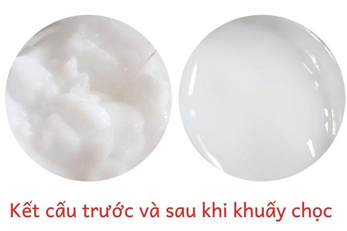 kết cấu trước và sau khi khuấy chọc của kem dưỡng
